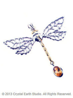 Nature's Wisdom Dragonfly Pendant with Golden Topaz
