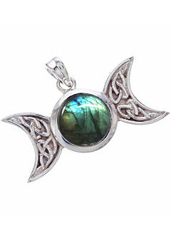 Celtic woven Triple Goddess Sterling Labradorite Pendant
