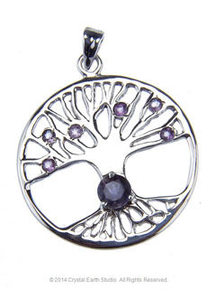 Tree of life Kyanite & Amethyst Gemstone Pendant in Sterling Silver