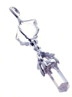 Buddha Dorje Wand in Clear Quartz