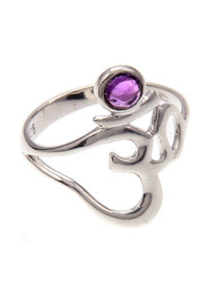 Ohm Symbol Ring with an Amethyst in Sterling Silver