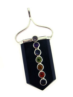 Chakra gemstone on Black Tourmaline Pendant