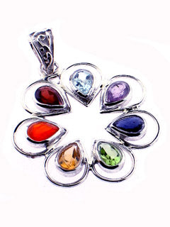 Faceted Chakra gem Flower Pendant in Sterling Silver