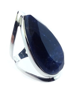 Wide Style Tear Shaped Sodalite Open band Ring