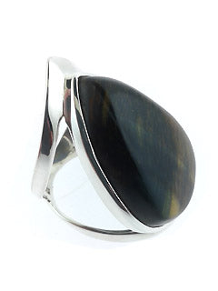 Wide Style Tear Shaped Hawks Eye Ring