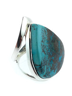 Wide Style Tear Shaped Azurite Malachite Ring