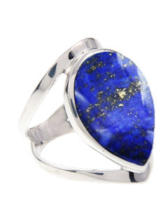 Wide Style Tear Shaped Lapis Lazuli Ring