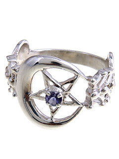 Cosmic Pentacle Iolite Gem Sterling Silver Ring