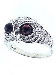 Owl Sterling and Garnet Ring