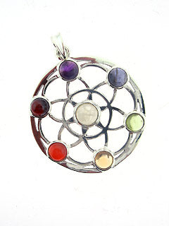 Seven Chakra Seed of Life Sterling Pendant