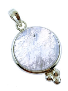 Rainbow Moonstone and Sterling Silver Pendant