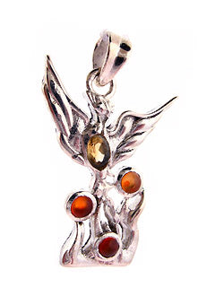 Phoenix Carnelian and Citrine Gems Pendant