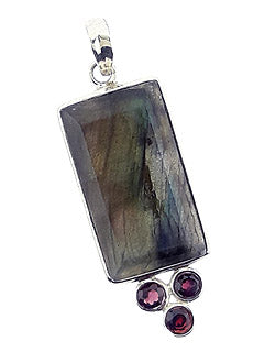 Unique Faceted Labradorite and Garnet Pendant