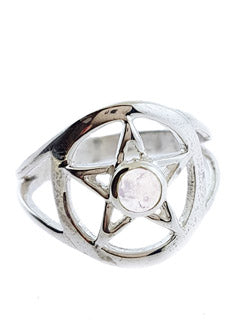 Moonstone Sterling Silver Pentacle Ring