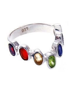 Sterling Silver 7 Stone Chakra Ring