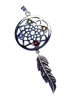 Four Directions Dreamcatcher Sterling Gem Pendant