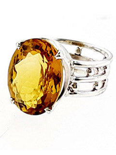Lemon Topaz 3 Band Style Ring