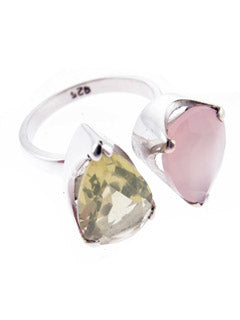 Citrine and Rose quartz Sterling Silver Ring
