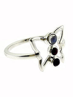 Butterfly Moonstone & Garnet Sterling Silver Ring