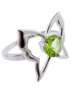 Butterfly Peridot Sterling Silver Ring