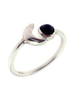 Summer Night Amethyst and Sterling Moon Ring