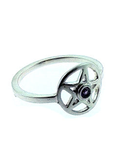 Amethyst gem Pentacle Ring