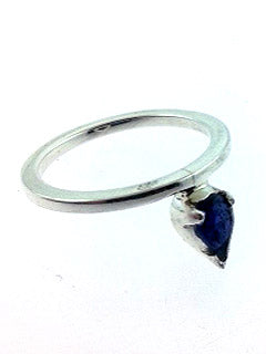 Sterling Silver Iolite offset gem Ring