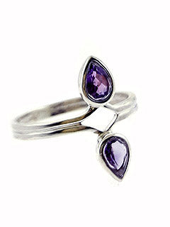 Sterling Silver Double Iolite Ring