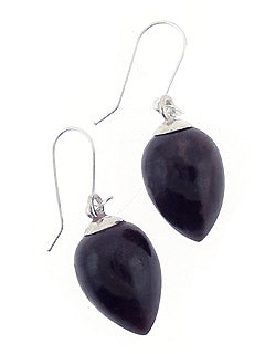 Drop-shaped Black Tourmaline Crystal Earrings