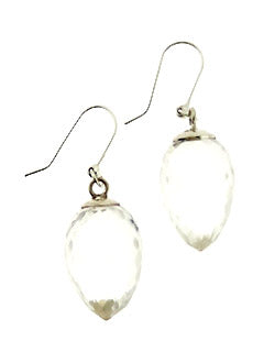 Drop-shaped Faceted Clear Quartz Crystal Earrings