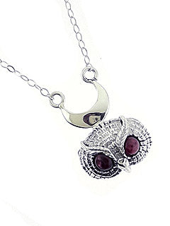 Wise Owl Garnet Sterling Silver Necklace