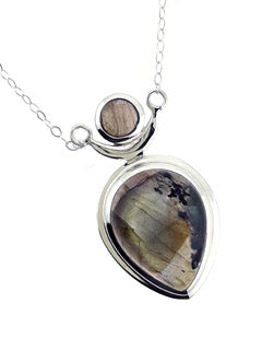 Labradorite Chalice design Necklace with Sterling Chain