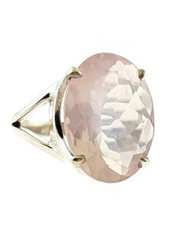 Faceted Rose Quartz Sterling Silver Ring