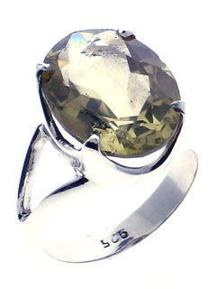 Faceted Green Amethyst Sterling Silver Ring