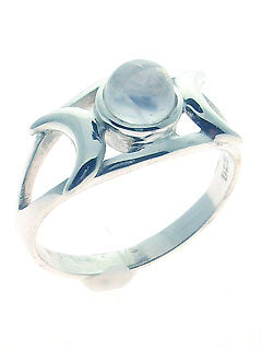 Moonstone Triple Moon Goddess Ring