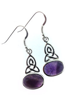Amethyst Crystal Triquetra Gemstone Earrings