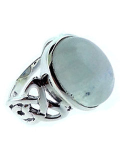Celtic Infinity Band Ring with Moonstone in Sterling Silver