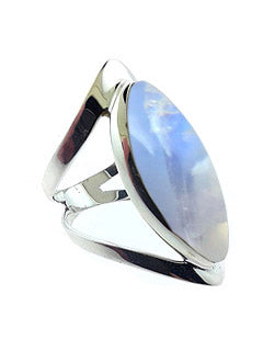 Open Band Sterling Ring with Rainbow Moonstone