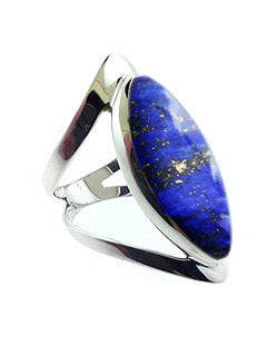 Open Band Sterling Ring with Lapis Lazuli