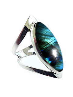 Open Band Sterling Ring with Labradorite