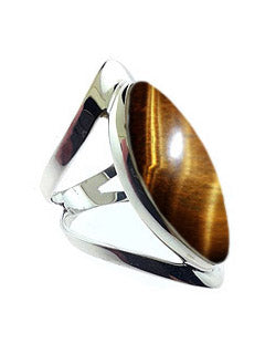 Open Band Sterling Ring with Blue Tiger's Eye