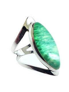 Open Band Sterling Ring with Mint Amazonite