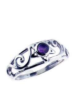 Small woven Pentacle Ring with Amethyst