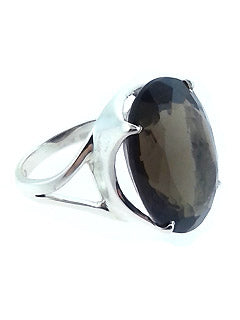 Smokey Quartz Sterling Silver Gem Ring