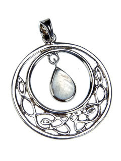 Celtic Knot Circle Pendant with Moonstone