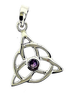 Infinity Triple Knot Sterling Pendant with Amethyst