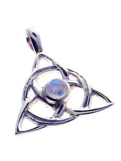 Infinity Triple Knot Sterling Pendant with Moonstone