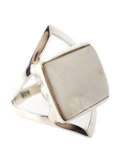 Square Shaped Rainbow Moonstone Ring