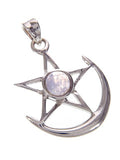 Moon Pentagram Pendant with Moonstone