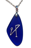 Archangel Symbol engraved Sea Glass Pendant - choose your angel sigil and color - Cast a Stone
